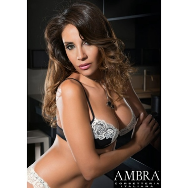 Ambra Corsetteria Italiana Douce Dentelle Push Up Black/Cherry