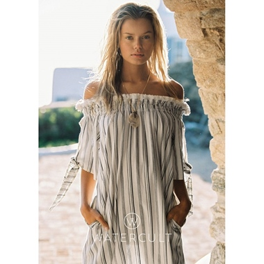 Watercult Relaxed Lines Kleid off-white black