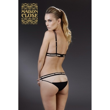 Maison Close Triangel BH La Cavaliere schwarz-sand